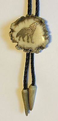 Vintage Antler Burl Bolo Tie Howling Wolf Sterling Inlay Antler Tips Signed