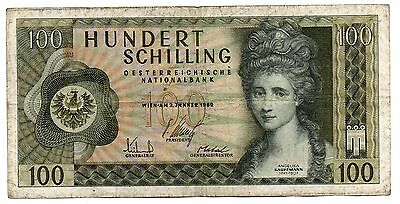 AUSATRIA   -  great   note     100  shillings  #145  BOOK VAL.  $10 !!