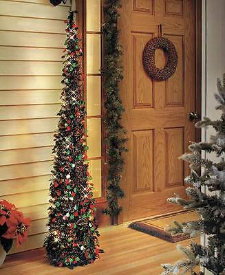 5' Tall Lighted Red & Green Shimmering Sequins Collapsible Christmas Tree