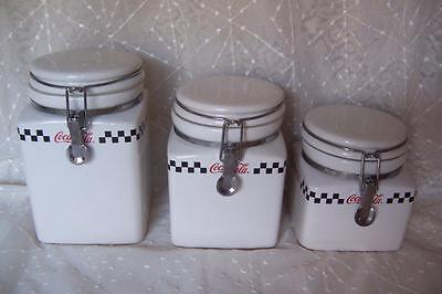 COCA COLA Ceramic ADVERTISING Kitchen CANISTERS Gibson COKE CAFE Containers Set