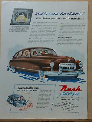1950 magazine ad for Nash - Airflyte, 20.7% less Air Drag, Wind Tunnel proved