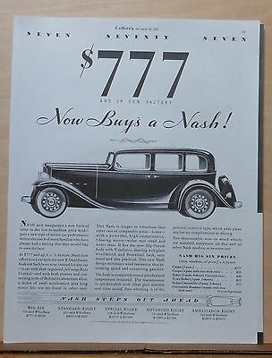 1932 magazine ad for Nash - Big Six, New basis of value in low to medium price