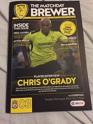 Burton Albion V Liverpool 23rd August 2016 English League Cup