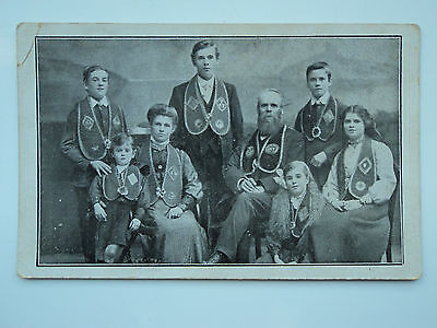 Vintage B&W PC unknown family group in religious, ceremonial dress. Jewish?