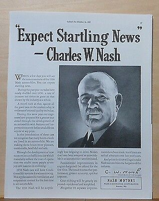 1937 magazine ad for Nash - Chairman Charles W. Nash, 1938 Nash features
