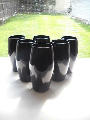 "Set Of Six Ebony 6"" Tall Glasses Measuring 2-3/4"" Across The Top"