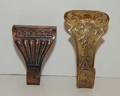 Two Beautiful Brass And Copper Picture Rail Hangers