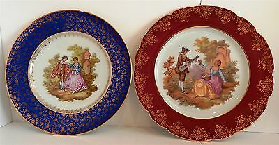 "Two Large Hand Decorated Plates From ""limoges"""