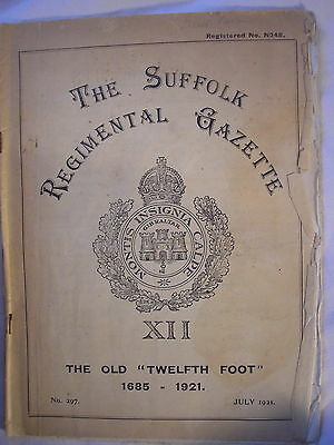 Suffolk Regiment Journal 1921 East Royal Anglian British Army India