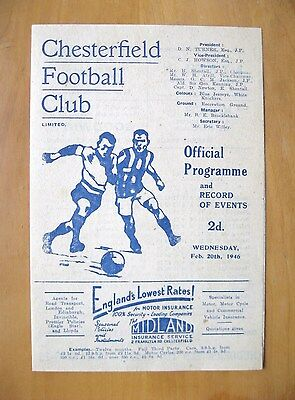 CHESTERFIELD v SHEFFIELD WEDNESDAY 1945/1946 *Exc Condition Football Programme*