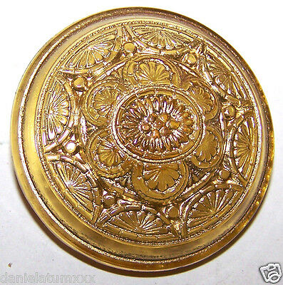 VINTAGE CZECH FLORAL TOPAZ YELLOW glass BUTTON - gold painted