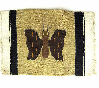 """Handwoven Wall Hanging Rug Tribal Ethnic Butterfly Vintage 19 x 13"""""""