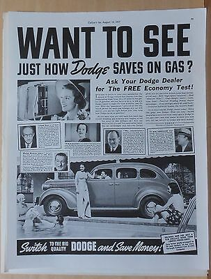 1937 magazine ad for Dodge - How Dodge saves on gas, testimonials, car at pool