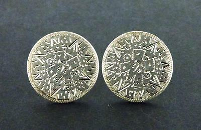 Vintage Made In Mexico R.B.Z. Sterling Silver Round Aztec Calendar Cufflinks