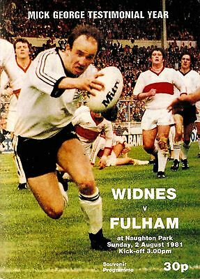 Widnes v Fulham - Mick George Testimonial - 1981