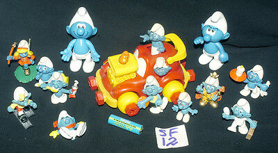 Vintage Smurfs Selection With A Smurf Vehicle  Ref Sf 12
