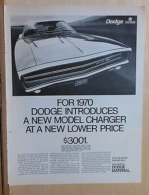 1969 magazine ad for Dodge - 1970 Charger photo, new model at lower price