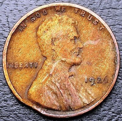 1926 Lincoln Wheat Cent ***Clipped Planchet Error Coin***