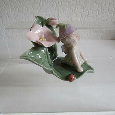 Porcelain Flower Baby Fairy  on Lily Leaves with Ladybird & Butterfly Wings