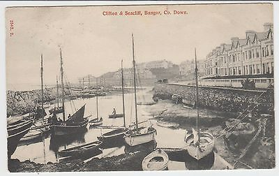Fishing Boats, Clifton & Seacliff, Bangor:~Vintage Collotype PPC, G.Used 1903