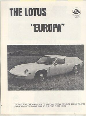 1966 Lotus Europa Mark 47 GT Renault 1500 First US Brochure ww5011