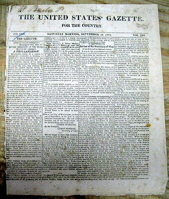 1814 WAR OF 1812 newspaper WASHINGTON DC BURNED frpg James Madison Proclamation