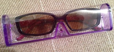 Purple Sunglasses In Case New With +2.5 Lens