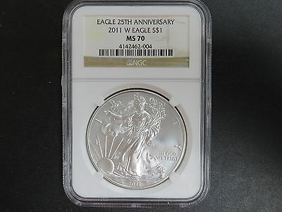 2011-W 25th Anniversary Silver Eagle MS70 NGC Holder