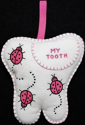 """Girls Hand~Made White Felt Tooth Fairy Pillow With Pink Ladybugs ~ 7 1/4"""" X 7"""""""