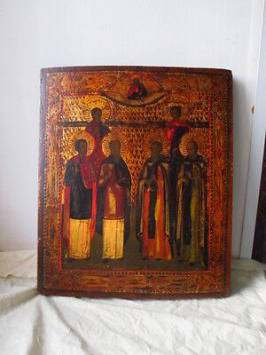 Icona Russa,Antique Russian Orthodox icon,,Holy Saints,,from 19c.