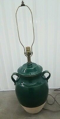 Rowe Pottery Table Lamp Green Crock Wescal Large