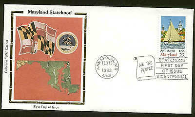 "U.S. FDC #2342 Colorano ""Silk"" Cachet Annapolis, MD Maryland Statehood"