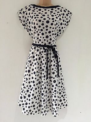 Vintage 80's White Navy Blue Spot Circle Print Belted 50's Style Swing Dress 16