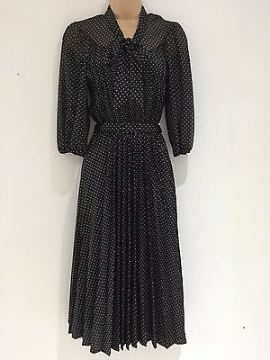 Vintage DEADSTOCK 70's Black White Polka Dot 40's Style Belted Pleated Dress 10