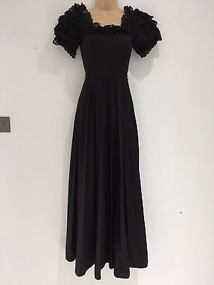 Vintage 70's Black Ruffle Lace Puffed Sleeve Pleated Evening Maxi Dress Size 6-8