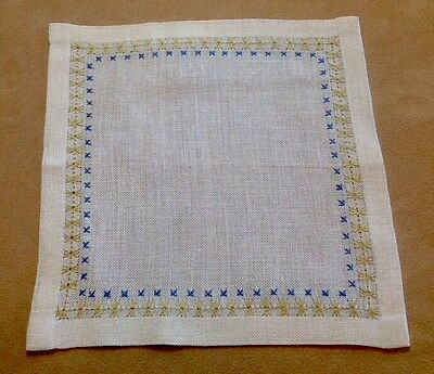 Vintage Square Doily, Light Beige, Linen, Blue, Beige Cross Stitch Embroidery