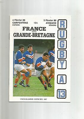Rugby League France v Great Britain 5th February 1989 VGC