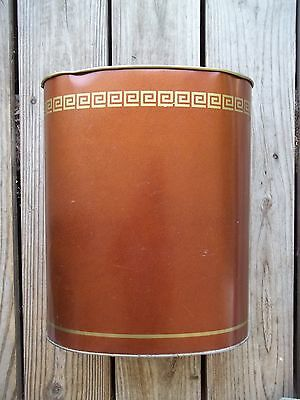 Vintage CHEINCO Copper Brown GOLD Colored Metal Trash Waste Can Oval 13 inch