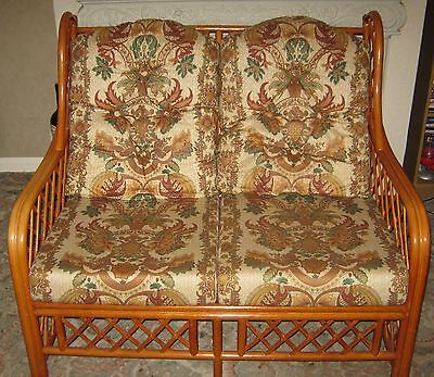 Wicker Cane Conservatory Two Seater Sofa Settee Furniture