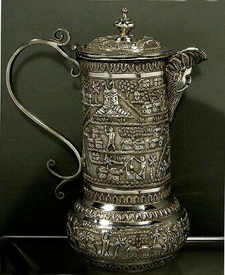 Indian Silver Pitcher      CALCUTTA     1890                              SIGNED