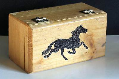 "Hand Crafted Solid Wood Trinket Box Hand Drawn Horse 7.75x4.25x4"" FREE SH"