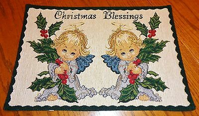 Christmas Blessings Angel Motif Tapestry Placemat 13 x 18.5
