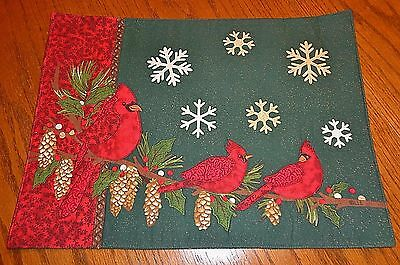 Set of 2 Quilted Cardinal Birds Christmas Placemats 13 x 18