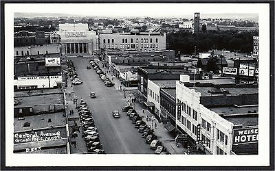 Great Falls MT Central Avenue Street Civic Center Hotel RPPC 1940s Cecil Nixon