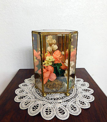 """Vtg Antique TABLE TABLE TOP GLASS BRASS DISPLAY CASE ~ Mirror Back ~ 7 1/2"""" TALL"""