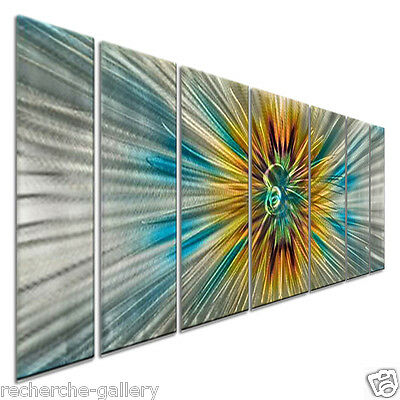 Modern Painting on Metal Decor by Artist Ash Carl, Abstract Wall Sculpture