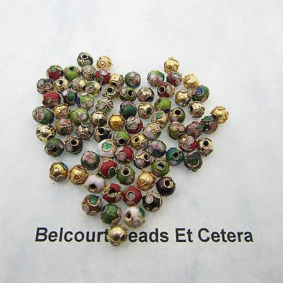 100 Mixed Color Cloisonne Beads 6mm Round Red, White, Black, Gold ETC