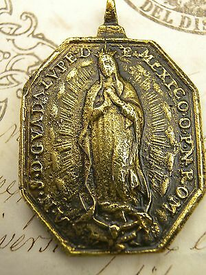 Antique Guadalupe Mexico Shrine St Francis Xavier Spanish Colonial Bronze Medal