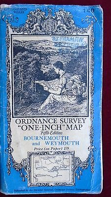 OS 1937 CONTOURED PAPER MAP of BOURNEMOUTH WEYMOUTH No 140 ONE INCH Price 1/9