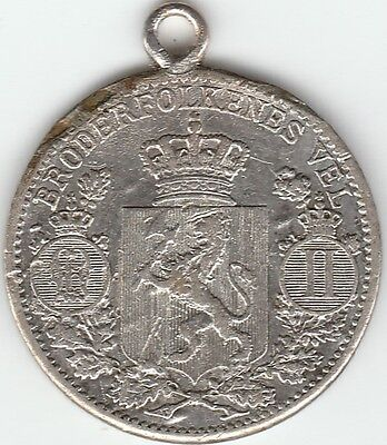"""1896-1904 Norway 25 Ore Love Token Engraved """"LL"""" Silver Very Nice"""